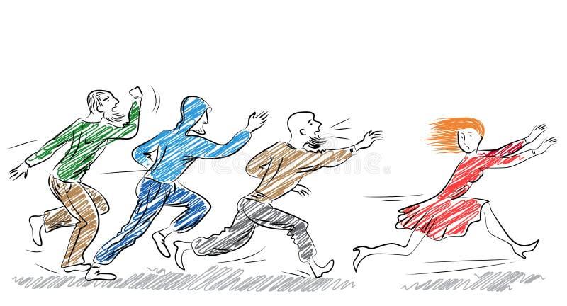 Corridas amedrontadas jovens da mulher longe dos homens ilustração royalty free