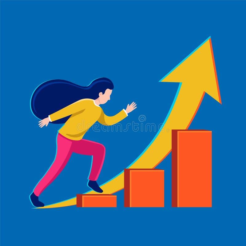 Corridas da menina acima da escada da carreira Ilustração do vetor do sucesso da menina ilustração royalty free