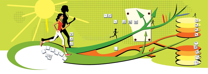 Corridas de cabelo escuro da menina ao longo dos trajetos ramificados em um fundo verde Mapa do cérebro, estilo de vida saudável, ilustração do vetor