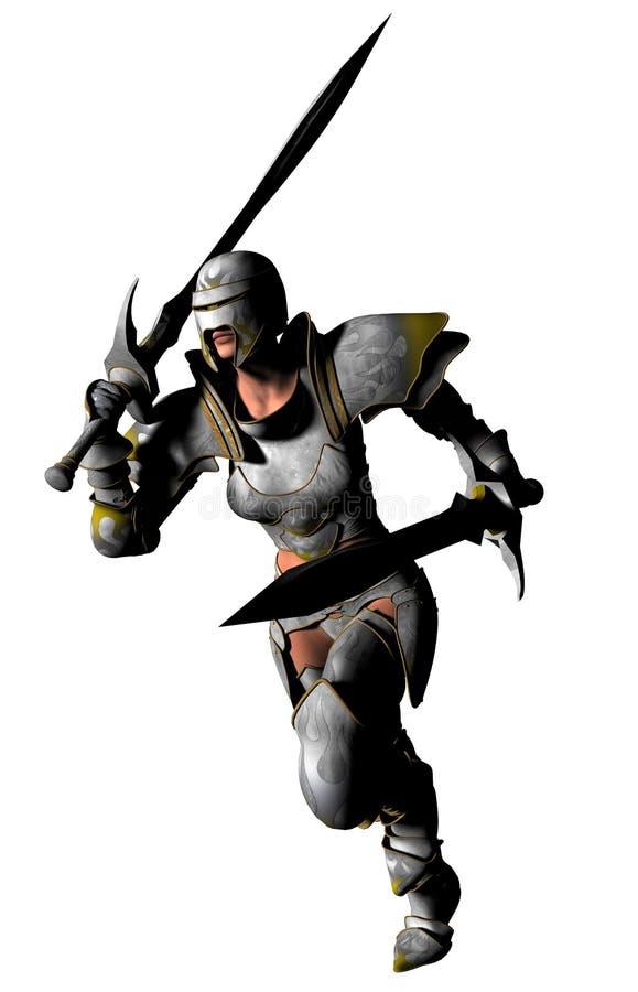 Corridas de Swordswoman ilustración del vector