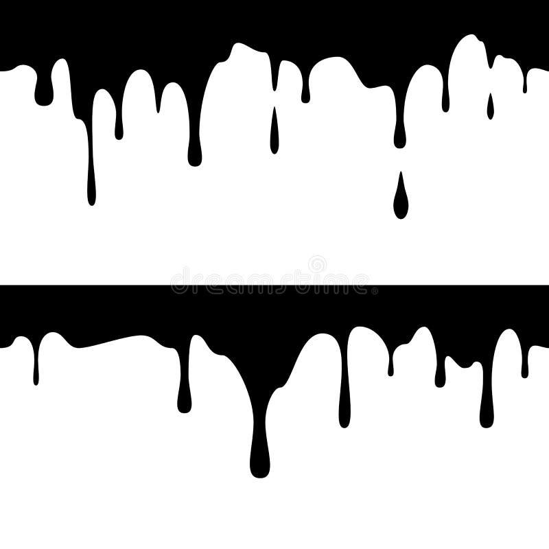 Corridas de tinta preta horizontais sem emenda Pintura do gotejamento r Ilustra??o do vetor ilustração do vetor