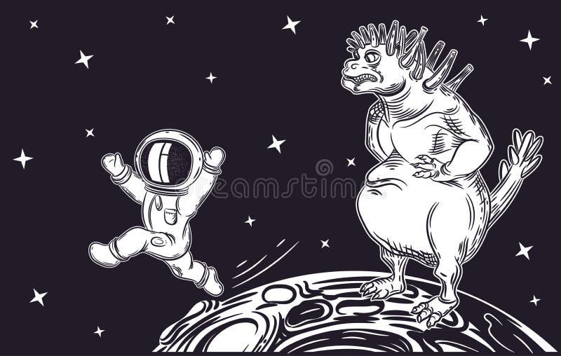 Corridas do astronauta longe do estrangeiro Monstro mau ilustração royalty free