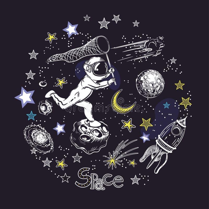 Corridas do astronauta para o cometa Rocket, asteroides e a lua Composi??o circular ilustração stock