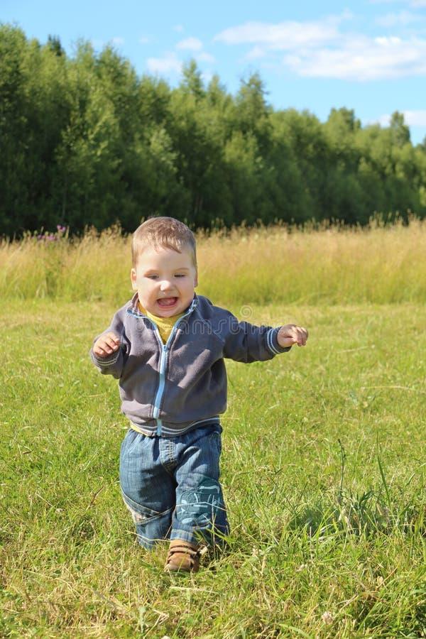 Corridas e gritos do rapaz pequeno na grama no prado verde imagem de stock royalty free