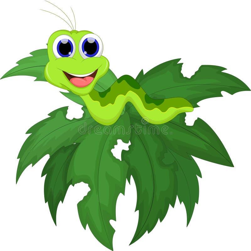 Corridas engraçadas da lagarta em um ramo de árvore ilustração do vetor