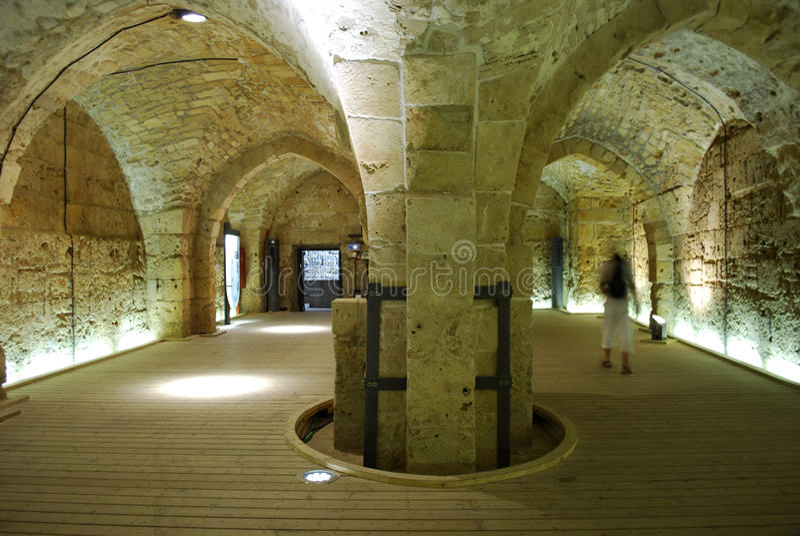 Corridoi del cavaliere - Akko (acro), Israele fotografia stock