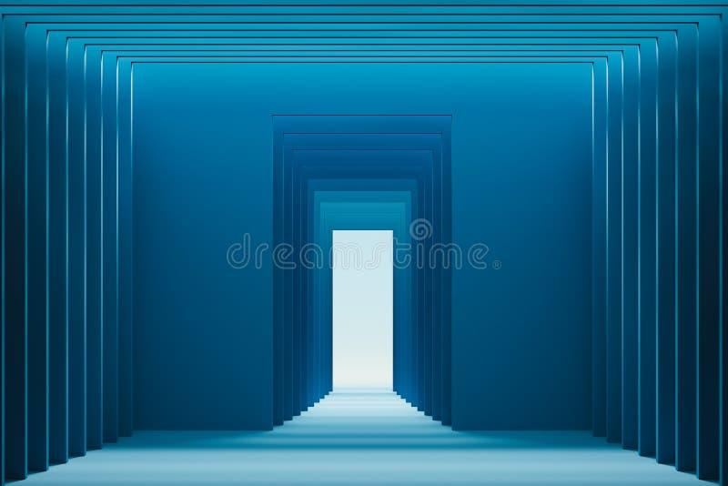 Corridoio blu con le pareti e la luce intensa astratte geometriche avanti rappresentazione 3d illustrazione vettoriale
