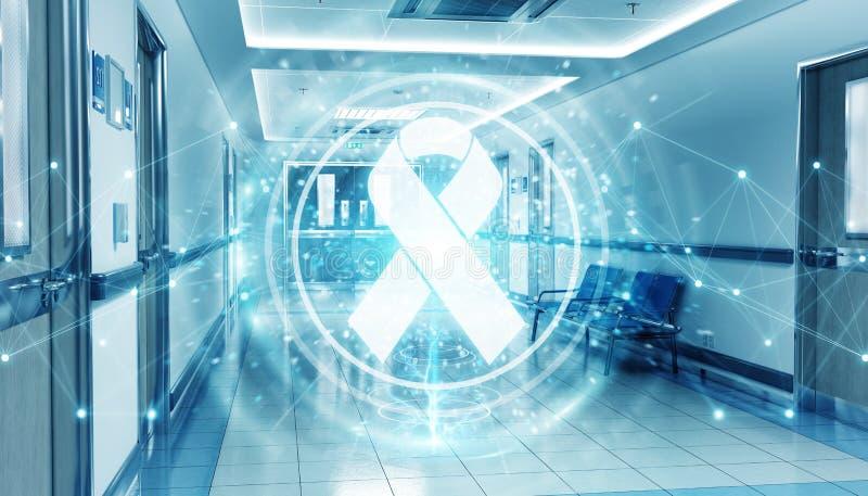 Corridoio blu dell'ospedale con il nastro digitale degli aiuti che galleggia nella rappresentazione dei collegamenti 3D dei punti illustrazione vettoriale