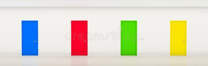 Corridoio con i portelli di colore illustrazione di stock