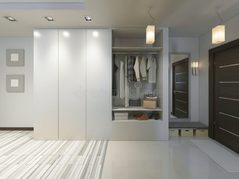 Corridoio con un corridoio nello stile contemporaneo con un guardaroba e una a royalty illustrazione gratis