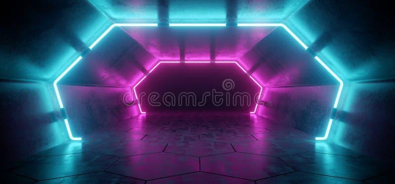 Corridoio concreto riflettente straniero futuristico moderno luminoso Tunn royalty illustrazione gratis