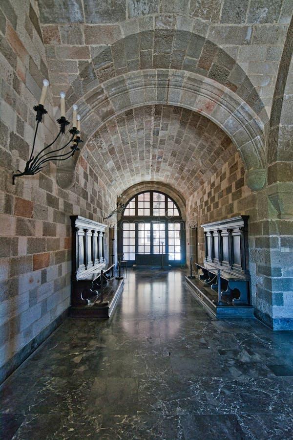 Corridoio decorato nel palazzo del palazzo Rodi dei gran maestri fotografie stock libere da diritti