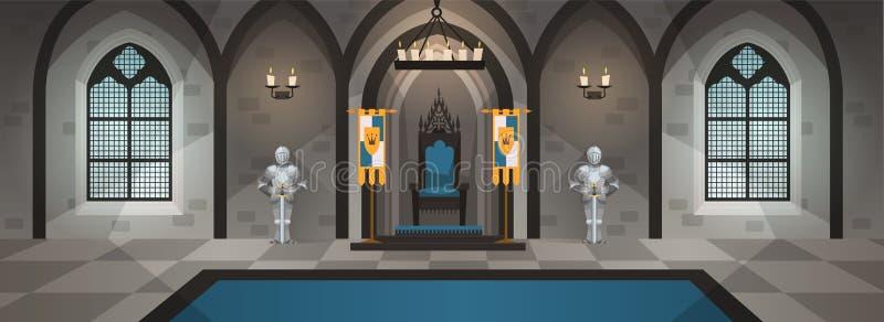 Corridoio del castello Palazzo medievale con la decorazione e la mobilia reali Interno con il tavolo da pranzo, trono Vettore del royalty illustrazione gratis