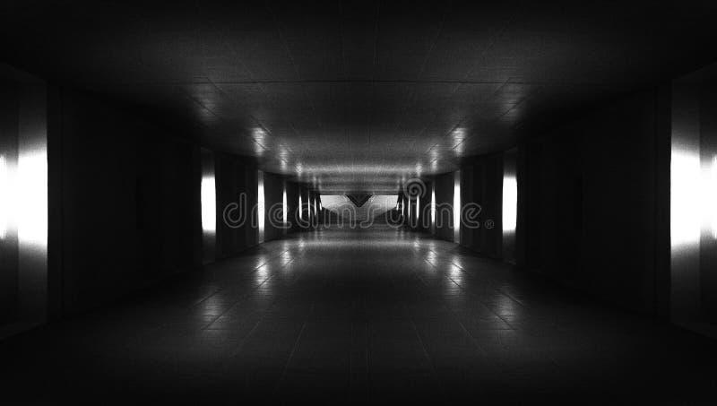 Corridoio dell'astronave Tunnel futuristico con luce Della stanza scura futuristica vuota di Sci Fi con le luci blu-chiaro immagini stock libere da diritti