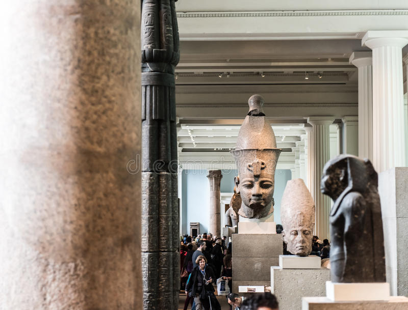 Corridoio dell'egitto antico, British Museum, Londra fotografie stock libere da diritti