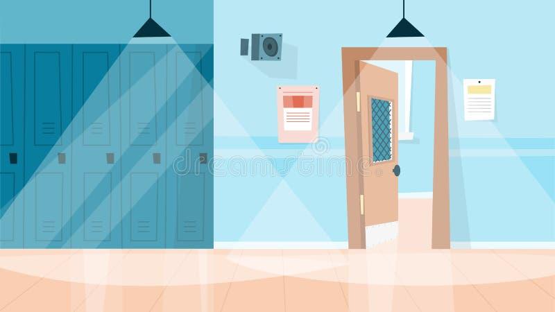 Corridoio dell'istituto universitario o della scuola Interiore vuoto della stanza hallway illustrazione vettoriale