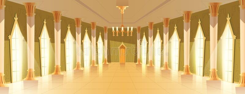 Corridoio della sala da ballo con l'illustrazione di vettore del candeliere royalty illustrazione gratis