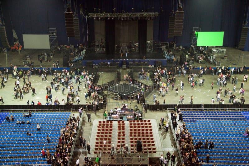 Corridoio dello stadio dopo il concerto di esposizione di prestazione fotografie stock