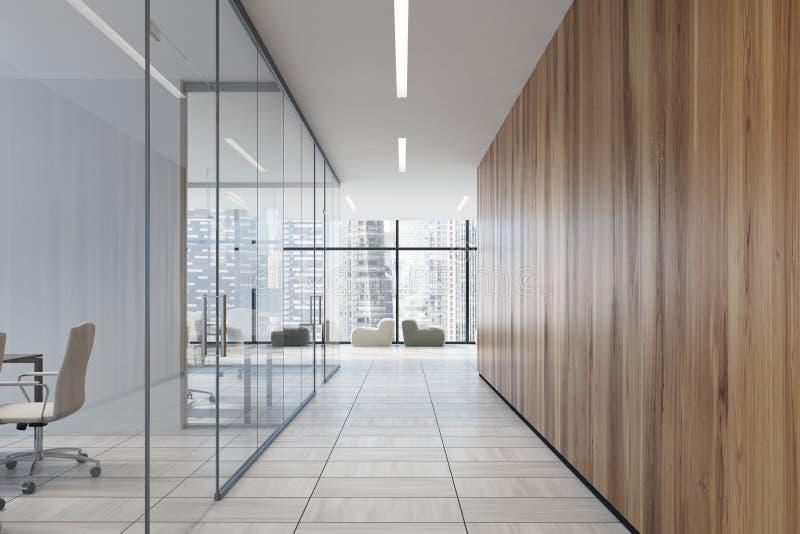 Ufficio Vetro E Legno : Corridoio di vetro e di legno dell ufficio illustrazione di stock