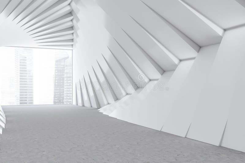 Corridoio futuristico bianco vuoto dell'edificio per uffici illustrazione di stock