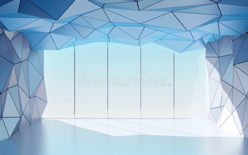 Corridoio futuristico poligonale con la finestra illustrazione vettoriale
