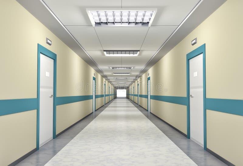 Corridoio illuminato nell'ospedale illustrazione di stock