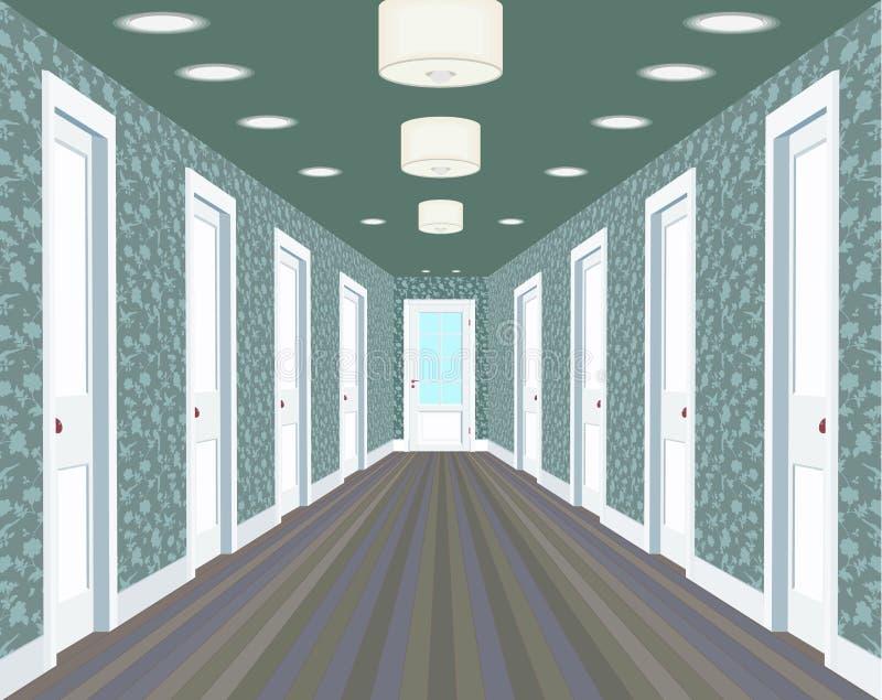 Corridoio lungo con le file delle porte chiuse Concetto delle opportunità infinite per successo e durezza della scelta hallway illustrazione vettoriale