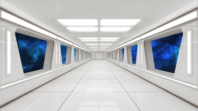 Corridoio moderno e futuristico dell'astronave illustrazione di stock