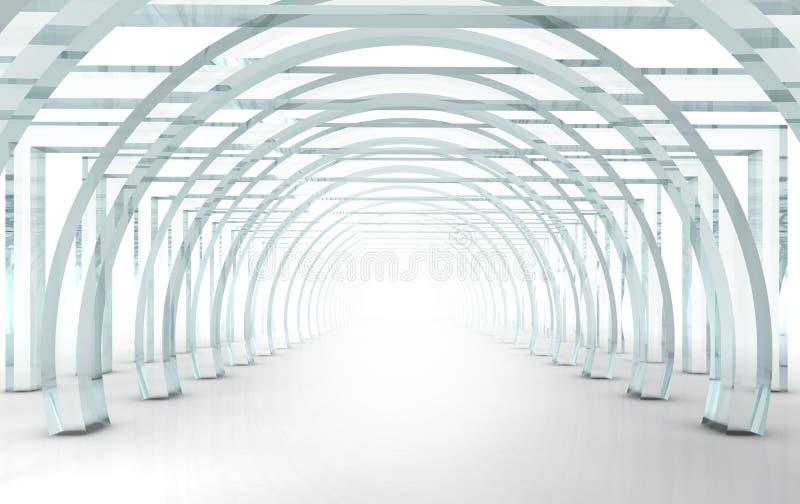 Corridoio o tunnel di vetro luminoso nella prospettiva royalty illustrazione gratis