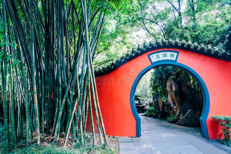 Corridoio rosso della parete del tempio di Wuhou, Chengdu, Sichuan, Cina fotografia stock