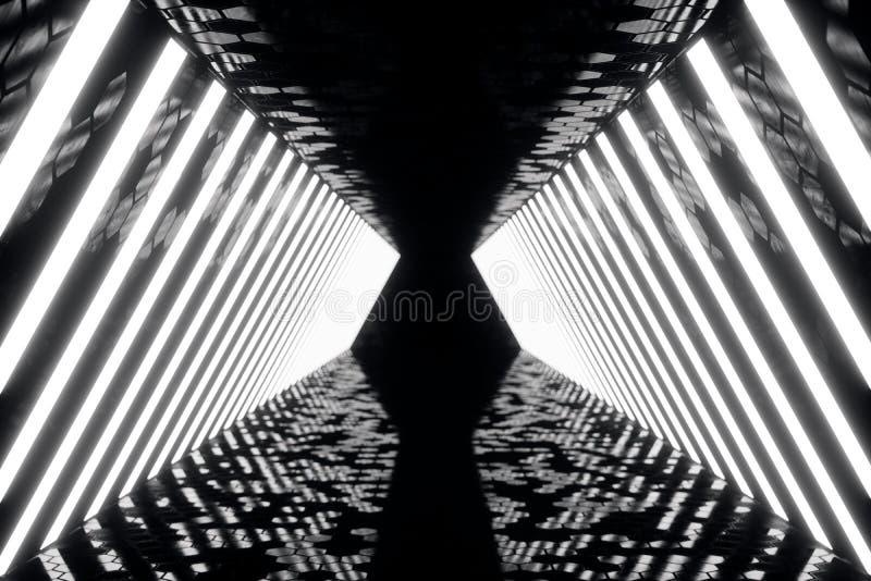 corridoio scuro futuristico del abstrac della rappresentazione 3D con le luci al neon Indicatore luminoso d'ardore Priorità bassa illustrazione vettoriale