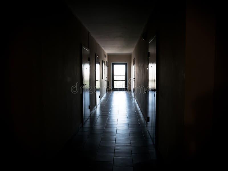 Corridoio scuro lungo con le porte agli appartamenti fotografia stock libera da diritti
