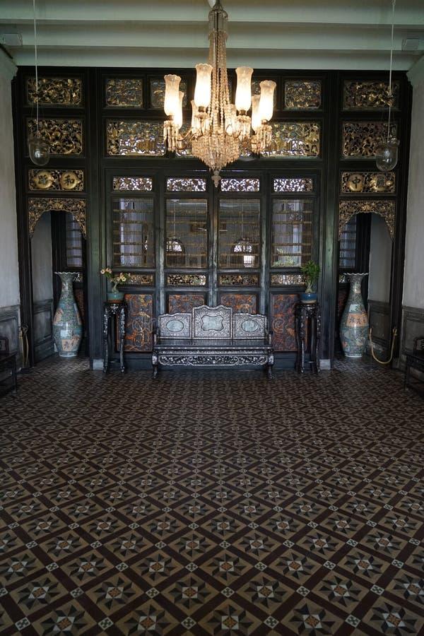 Corridoio vivente a Cheong Fatt Tze Mansion fotografie stock