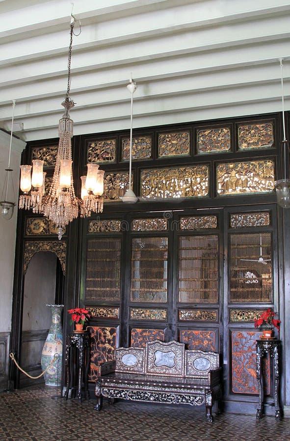 Corridoio vivente a Cheong Fatt Tze Mansion, Georgetown, Penang immagini stock