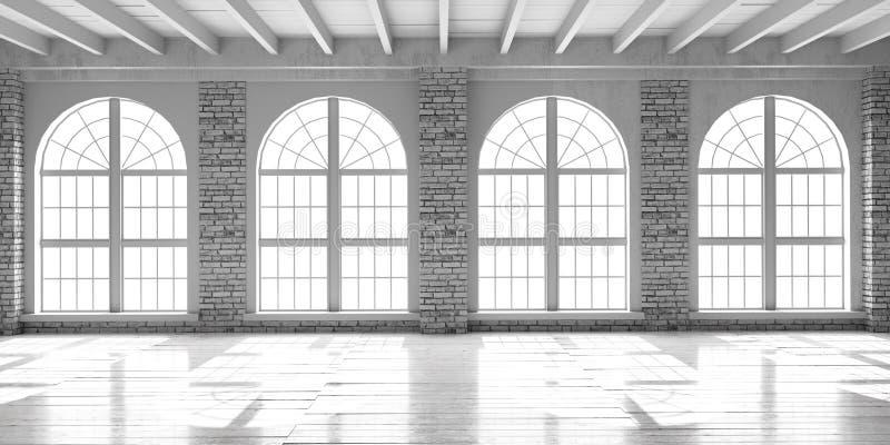 Corridoio vuoto bianco nello stile del sottotetto illustrazione vettoriale
