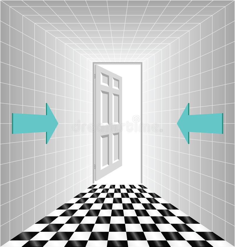 Corridor. Leading to an open door with arrow signs royalty free illustration
