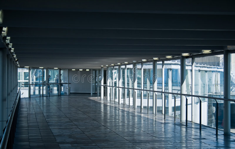 Corridor. Airport glass corridor on a sunny day royalty free stock photography