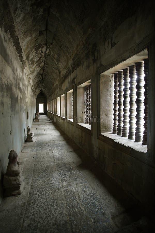 Corridor from Angkor temples stock photos