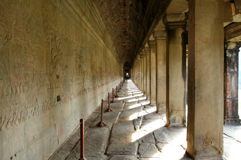 Corridor of Angkor Wat stock photography