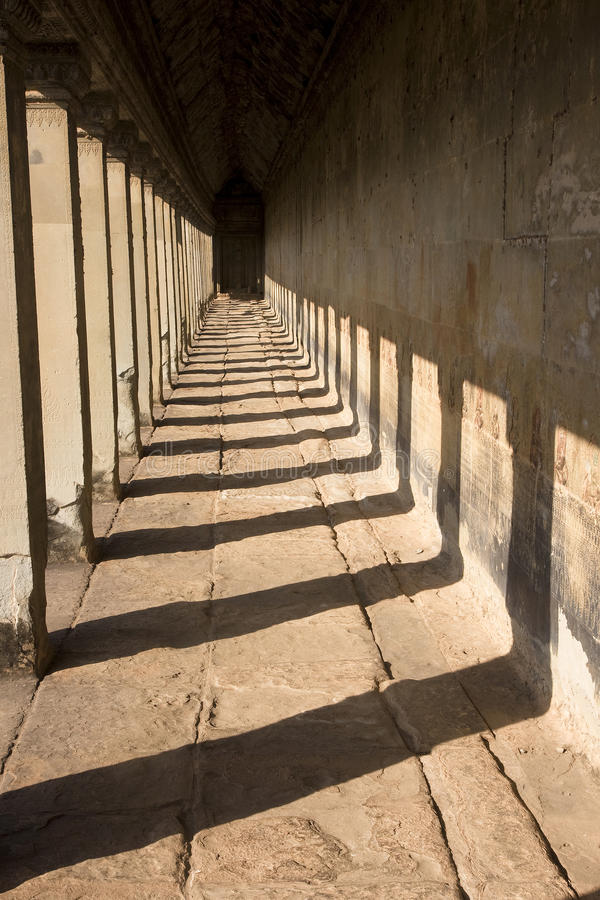 Corridor in Angkor Wat stock photography