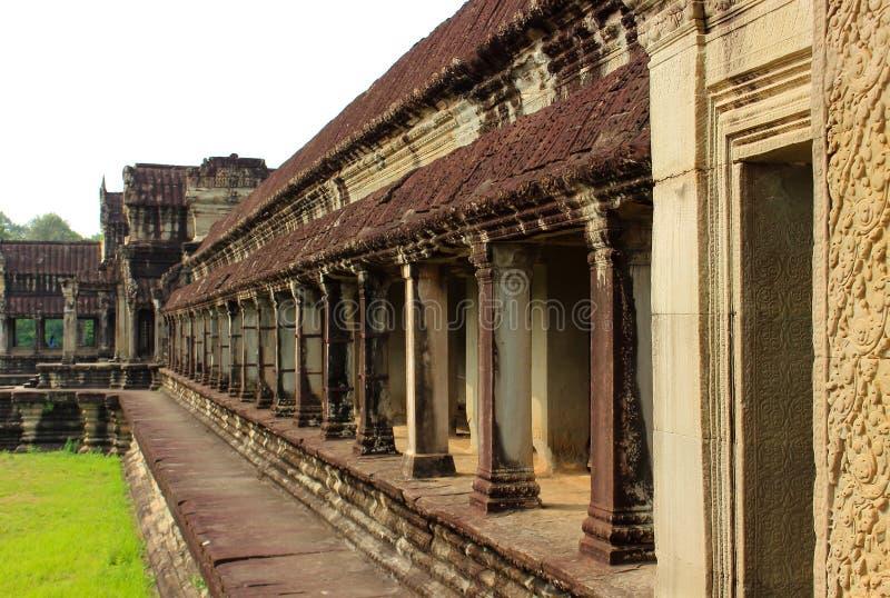 Corridor of Angkor Wat Temple, Cambodia royalty free stock photos