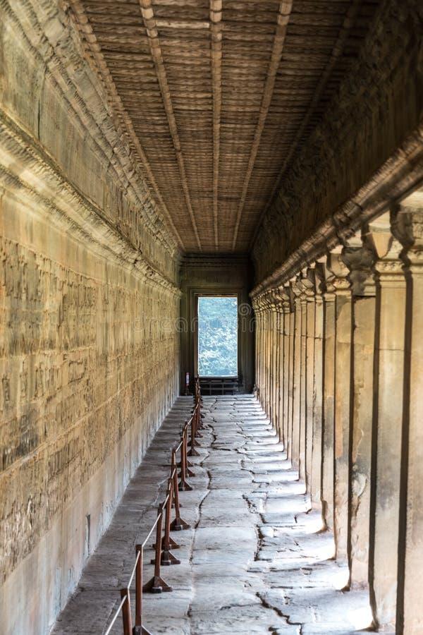 Corridor in the Angkor Wat temple, Cambodia royalty free stock image