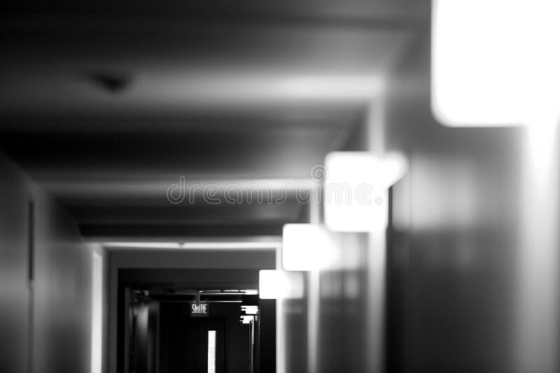 Corridor in black and white royalty free stock photos