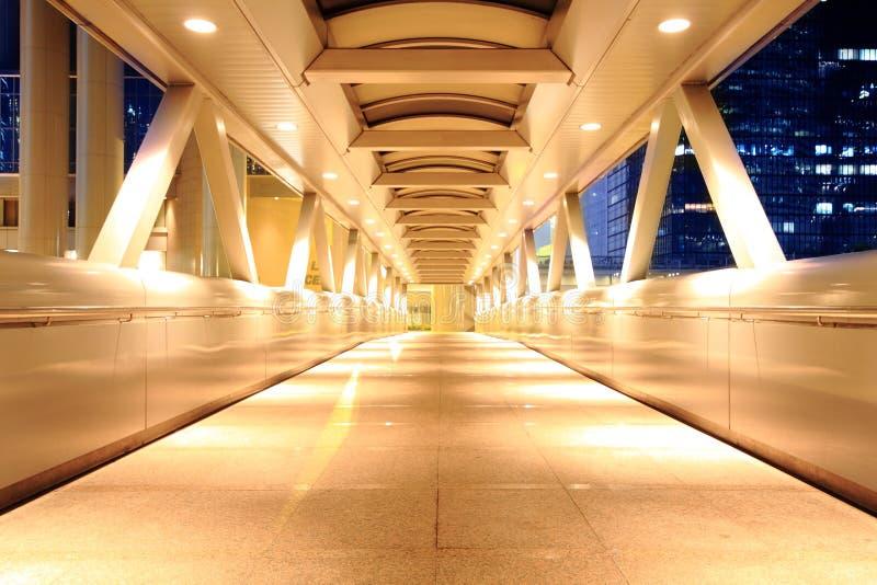 Corridor of the city hall. At night in hong kong stock image