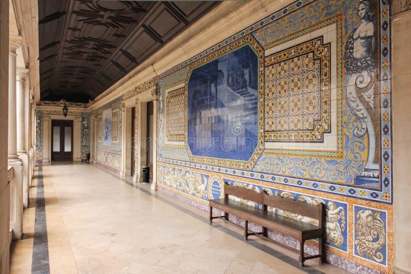Corridor. College of Sao Tomas. Coimbra. Portugal stock photos