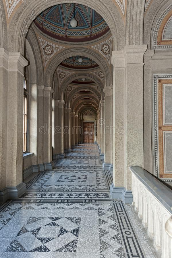 Corridor with columns in Chernivtsi National University, Chernivtsi, Ukraine. Corridor with columns in Chernivtsi National University, former Residence of royalty free stock photography