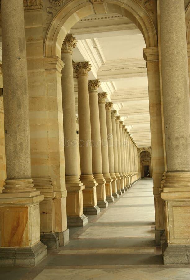 Corridor of columns, hallway stock image