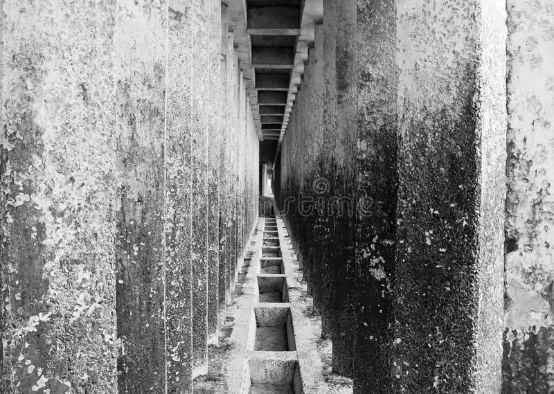 Corridor of concrete pillars. With perspective depth royalty free stock image