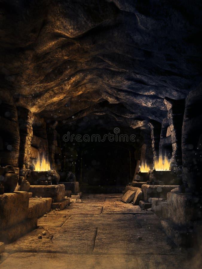 Corridor in a fantasy mine stock photo