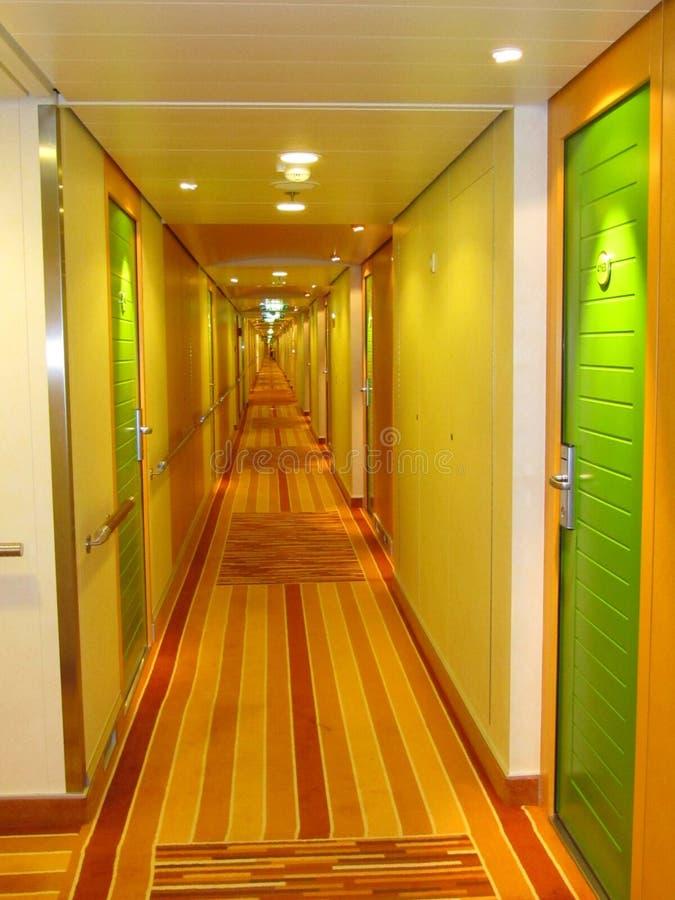 Corridor with green doors